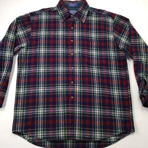 Pendelton Vintage Flannel Wool Shirt Plaid L